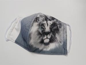 Mund - und Nasen - Maske  mit Tiermotiv Löwe, Innenstoff dünne Baumwolle, waschbar, 1 Stück , KEIN Virenschutz , handmade by la piccola Antonella - Handarbeit kaufen