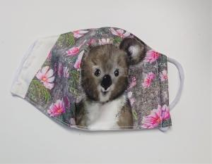 Mund - und Nasen - Maske  mit Tiermotiv Koala , Innenstoff dünne Baumwolle, waschbar, 1 Stück , KEIN Virenschutz , handmade by la piccola Antonella