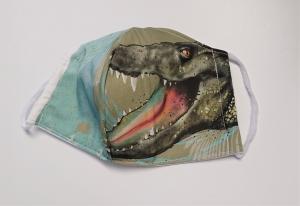 Mund - und Nasen - Maske  mit Tiermotiv Krokodil , Innenstoff dünne Baumwolle, waschbar, 1 Stück , KEIN Virenschutz , handmade by la piccola Antonella - Handarbeit kaufen
