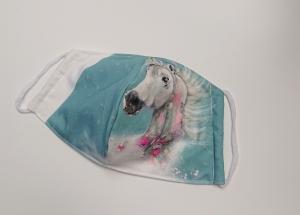Mund - und Nasen - Maske  mit Tiermotiv Pferd , Innenstoff dünne Baumwolle, waschbar, 1 Stück , KEIN Virenschutz , handmade by la piccola Antonella - Handarbeit kaufen