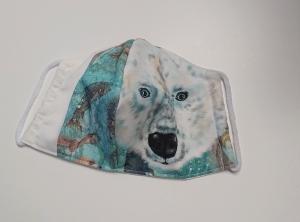 Mund - und Nasen - Maske  mit Tiermotiv Eisbär , Innenstoff dünne Baumwolle, waschbar, 1 Stück , KEIN Virenschutz , handmade by la piccola Antonella - Handarbeit kaufen