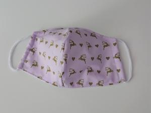 Mund - und Nasen - Maske mit Hirschen, 2 lagig aus dünner Baumwolle  , KEIN Virenschutz , handmade by la piccola Antonella - Handarbeit kaufen