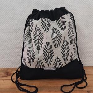 Turnbeutel, Festivaltasche, Rucksack,  in schwarz weiß silber , Handmade by la piccola Antonella