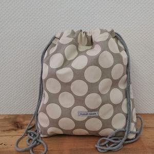 Turnbeutel, Festivaltasche, Rucksack, mit großen Punkten , Handmade by la piccola Antonella - Handarbeit kaufen