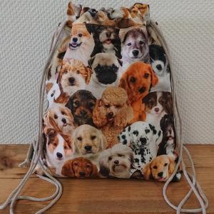 Turnbeutel, Festivaltasche, Rucksack mit Hunden , Handmade by la piccola Antonella - Handarbeit kaufen