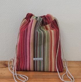 Turnbeutel, Festivaltasche, Rucksack mit bunten Streifen, Handmade by la piccola Antonella - Handarbeit kaufen