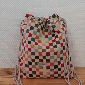 Turnbeutel, Festivaltasche, Rucksack mit bunten Karos, Handmade by la piccola Antonella - Handarbeit kaufen
