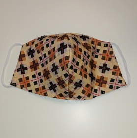 Mund - und Nasen - Maske braun kariert, 2 lagig aus dünner Baumwolle  , KEIN Virenschutz , handmade by la piccola Antonella - Handarbeit kaufen