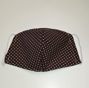 Mund - und Nasen - Maske in braun mit weißen Punkten, 2 lagig aus dünner Baumwolle  , KEIN Virenschutz , handmade by la piccola Antonella - Handarbeit kaufen