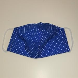Mund - und Nasen - Maske in blau mit weißen Punkten, 2 lagig aus dünner Baumwolle  , KEIN Virenschutz , handmade by la piccola Antonella - Handarbeit kaufen