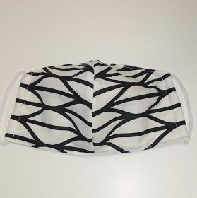 Mund - und Nasen - Maske in weiß schwarz, 2 lagig aus dünner Baumwolle  , KEIN Virenschutz , handmade by la piccola Antonella - Handarbeit kaufen