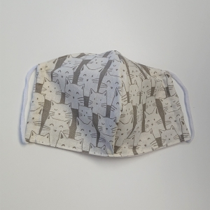 Mund - und Nasen - Maske mit Katzen in grau beige, 2 lagig aus dünner Baumwolle  , KEIN Virenschutz , handmade by la piccola Antonella - Handarbeit kaufen
