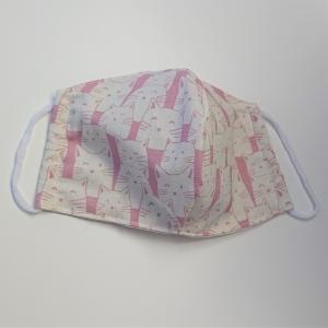 Mund - und Nasen - Maske mit Katzen in rosa beige, 2 lagig aus dünner Baumwolle  , KEIN Virenschutz , handmade by la piccola Antonella - Handarbeit kaufen