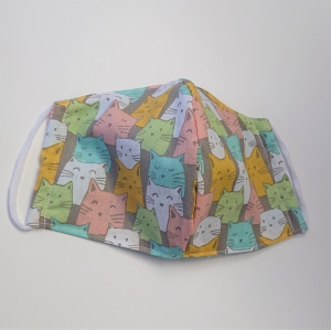 Mund - und Nasen - Maske mit Katzen in bunt, 2 lagig aus dünner Baumwolle  , KEIN Virenschutz , handmade by la piccola Antonella - Handarbeit kaufen