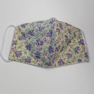 Mund - und Nasen - Maske mit kleinen Blümchen in lila, 2 lagig aus dünner Baumwolle  , KEIN Virenschutz , handmade by la piccola Antonella - Handarbeit kaufen