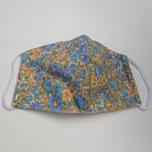 Mund - und Nasen - Maske mit  Blümchen in blau gelb, 2 lagig aus dünner Baumwolle  , KEIN Virenschutz , handmade by la piccola Antonella - Handarbeit kaufen