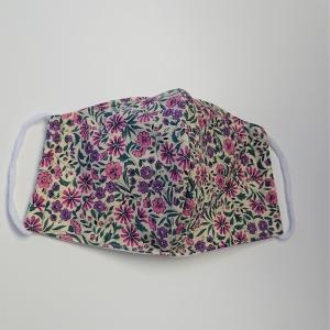 Mund - und Nasen - Maske mit  Blümchen in lila rosa, 2 lagig aus dünner Baumwolle  , KEIN Virenschutz , handmade by la piccola Antonella
