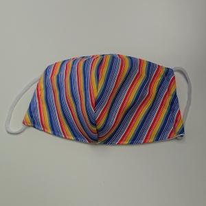 Mund - und Nasen - Maske mit bunten Streifen, 2 lagig,  dünne Baumwolle  , KEIN Virenschutz , handmade by la piccola Antonella - Handarbeit kaufen