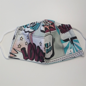 Mund - und Nasen - Maske für Schul Kinder, Comic Design, dünne Baumwolle, waschbar, 1 Stück , KEIN Virenschutz , handmade by la piccola Antonella - Handarbeit kaufen