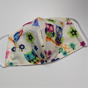 Mund - und Nasen - Maske mit bunten Eulen, 2 lagig aus dünner Baumwolle  , KEIN Virenschutz , handmade by la piccola Antonella - Handarbeit kaufen