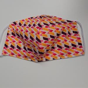 Mund - und Nasen - Maske mit grafischen Muster in gelb pink lila, 2 lagig aus dünner Baumwolle  , KEIN Virenschutz , handmade by la piccola Antonella - Handarbeit kaufen