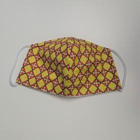 Mund - und Nasen - Maske in gelb rot rosa, 2 lagig aus dünner Baumwolle  , KEIN Virenschutz , handmade by la piccola Antonella - Handarbeit kaufen