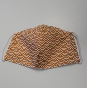 Mund - und Nasen - Maske mit Bögen in senf gelb und weiß, 2 lagig aus dünner Baumwolle  , KEIN Virenschutz , handmade by la piccola Antonella - Handarbeit kaufen