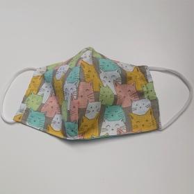 Mund - und Nasen - Maske für Schul Kinder, bunte Katzen, dünne Baumwolle, waschbar, 1 Stück , KEIN Virenschutz , handmade by la piccola Antonella - Handarbeit kaufen