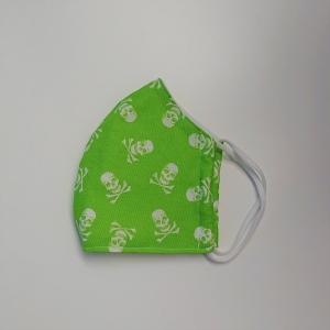 Mund - und Nasen - Maske für Schul Kinder in grün mit Totenköpfen, dünne Baumwolle, waschbar, 1 Stück , KEIN Virenschutz , handmade by la piccola Antonella - Handarbeit kaufen