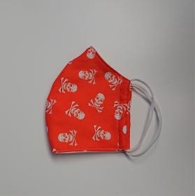 Mund - und Nasen - Maske für Schul Kinder in orange mit Totenköpfen, dünne Baumwolle, waschbar, 1 Stück , KEIN Virenschutz , handmade by la piccola Antonella