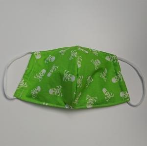 Mund - und Nasen - Maske aus Baumwolle in grün mit Totenköpfen, Innenstoff dünne Baumwolle, waschbar, 1 Stück , KEIN Virenschutz , handmade by la piccola Antonella - Handarbeit kaufen