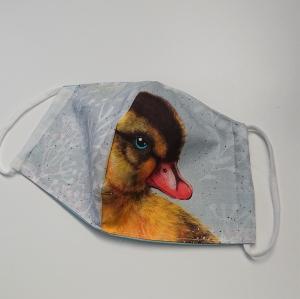 Mund - und Nasen - Maske für Schul Kinder mit Enten Küken, dünne Baumwolle, waschbar, 1 Stück , KEIN Virenschutz , handmade by la piccola Antonella - Handarbeit kaufen