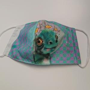 Mund - und Nasen - Maske für Schul Kinder mit Dino, dünne Baumwolle, waschbar, 1 Stück , KEIN Virenschutz , handmade by la piccola Antonella - Handarbeit kaufen
