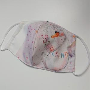 Mund - und Nasen - Maske für Schul Kinder mit Schwan, dünne Baumwolle, waschbar, 1 Stück , KEIN Virenschutz , handmade by la piccola Antonella - Handarbeit kaufen
