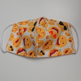Mund - und Nasen - Maske mit Emojes,  2 lagig aus dünner Baumwolle  , KEIN Virenschutz , handmade by la piccola Antonella - Handarbeit kaufen