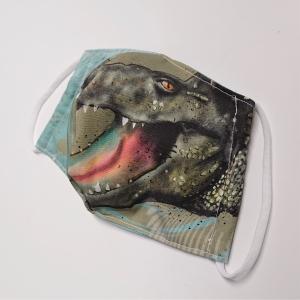 Mund - und Nasen - Maske für Schul Kinder mit Krokodil, dünne Baumwolle, 2 lagig, 1 Stück , KEIN Virenschutz , handmade by la piccola Antonella - Handarbeit kaufen