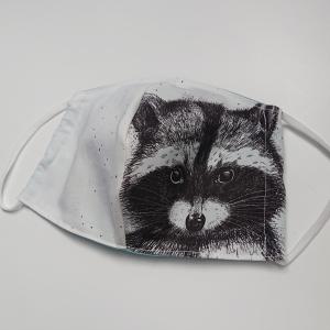 Mund - und Nasen - Maske für Schul Kinder mit Waschbär, dünne Baumwolle, 2 lagig, 1 Stück , KEIN Virenschutz , handmade by la piccola Antonella