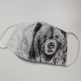 Mund - und Nasen - Maske für Schul Kinder mit Bär, dünne Baumwolle, 2 lagig, 1 Stück , KEIN Virenschutz , handmade by la piccola Antonella