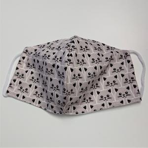 Mund - und Nasen - Maske für Schul Kinder mit Katzen in beige grau, dünne Baumwolle, 2 lagig, 1 Stück , KEIN Virenschutz , handmade by la piccola Antonella - Handarbeit kaufen