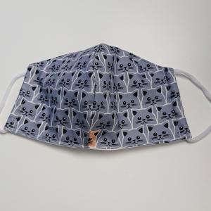 Mund - und Nasen - Maske für Schul Kinder mit Katzen in blau grau, dünne Baumwolle, 2 lagig, 1 Stück , KEIN Virenschutz , handmade by la piccola Antonella - Handarbeit kaufen