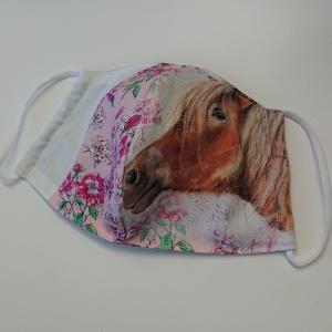 Mund - und Nasen - Maske für Schul Kinder, Pferd, dünne Baumwolle, 2 lagig, 1 Stück , KEIN Virenschutz , handmade by la piccola Antonella