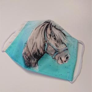 Mund - und Nasen - Maske mit Pferd, 2 lagig aus dünner Baumwolle  , KEIN Virenschutz , handmade by la piccola Antonella - Handarbeit kaufen