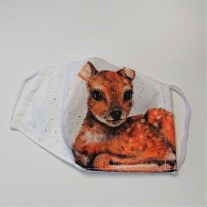 Mund - und Nasen - Maske mit Reh, 2 lagig aus dünner Baumwolle  , KEIN Virenschutz , handmade by la piccola Antonella - Handarbeit kaufen