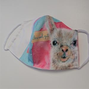 Mund - und Nasen - Maske mit Lama, 2 lagig aus dünner Baumwolle  , KEIN Virenschutz , handmade by la piccola Antonella - Handarbeit kaufen