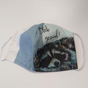Mund - und Nasen - Maske mit Waschbär, 2 lagig aus dünner Baumwolle  , KEIN Virenschutz , handmade by la piccola Antonella
