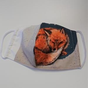 Mund - und Nasen - Maske mit Fuchs, 2 lagig aus dünner Baumwolle  , KEIN Virenschutz , handmade by la piccola Antonella - Handarbeit kaufen