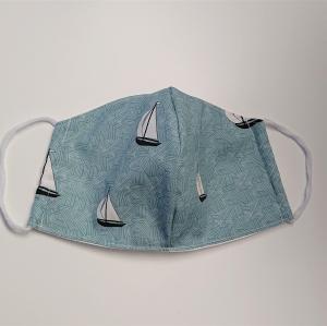 Mund - und Nasen - Maske mit Segelbooten, 2 lagig aus dünner Baumwolle  , KEIN Virenschutz , handmade by la piccola Antonella - Handarbeit kaufen