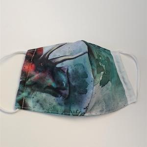 Mund - und Nasen - Maske mit Dinosaurier, 2 lagig aus dünner Baumwolle  , KEIN Virenschutz , handmade by la piccola Antonella