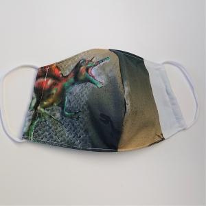 Mund - und Nasen - Maske mit Dinosaurier, 2 lagig aus dünner Baumwolle  , KEIN Virenschutz , handmade by la piccola Antonella - Handarbeit kaufen