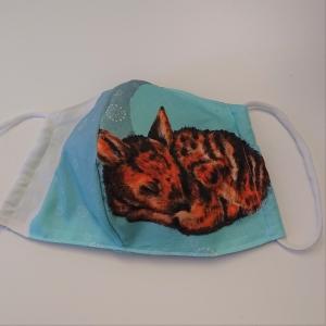 Mund - und Nasen - Maske mit Rehkitz, 2 lagig aus dünner Baumwolle  , KEIN Virenschutz , handmade by la piccola Antonella - Handarbeit kaufen